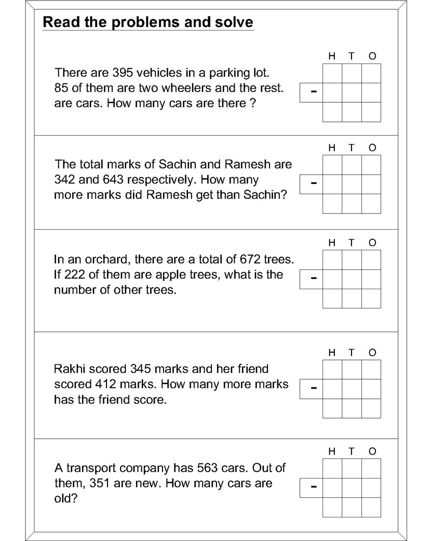Math Subtraction Worksheets For Kids Or Cbt Worksheets For Kids