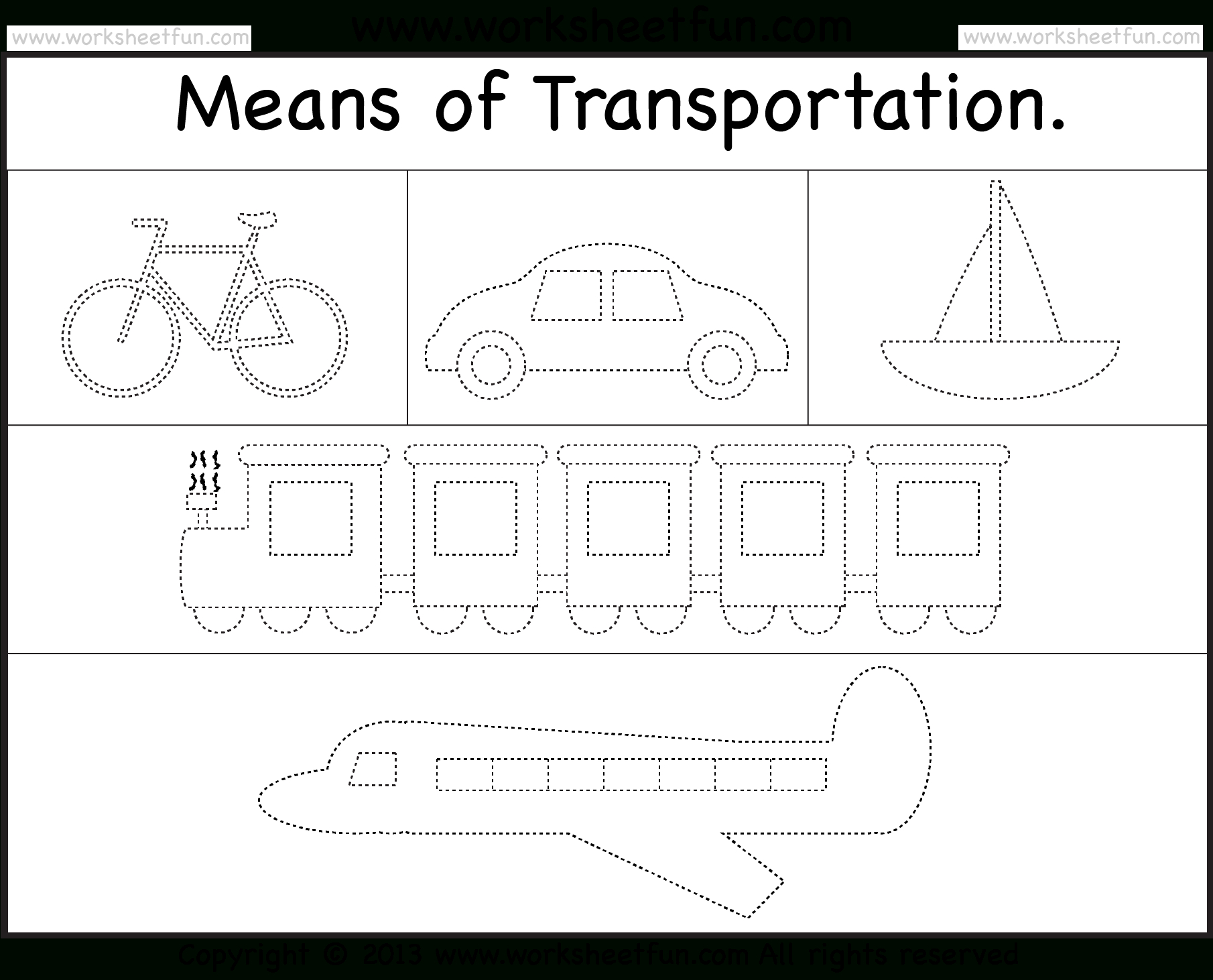 Means Of Transportation – Tracing Worksheet  Free Printable For Tracing Worksheets For Kindergarten