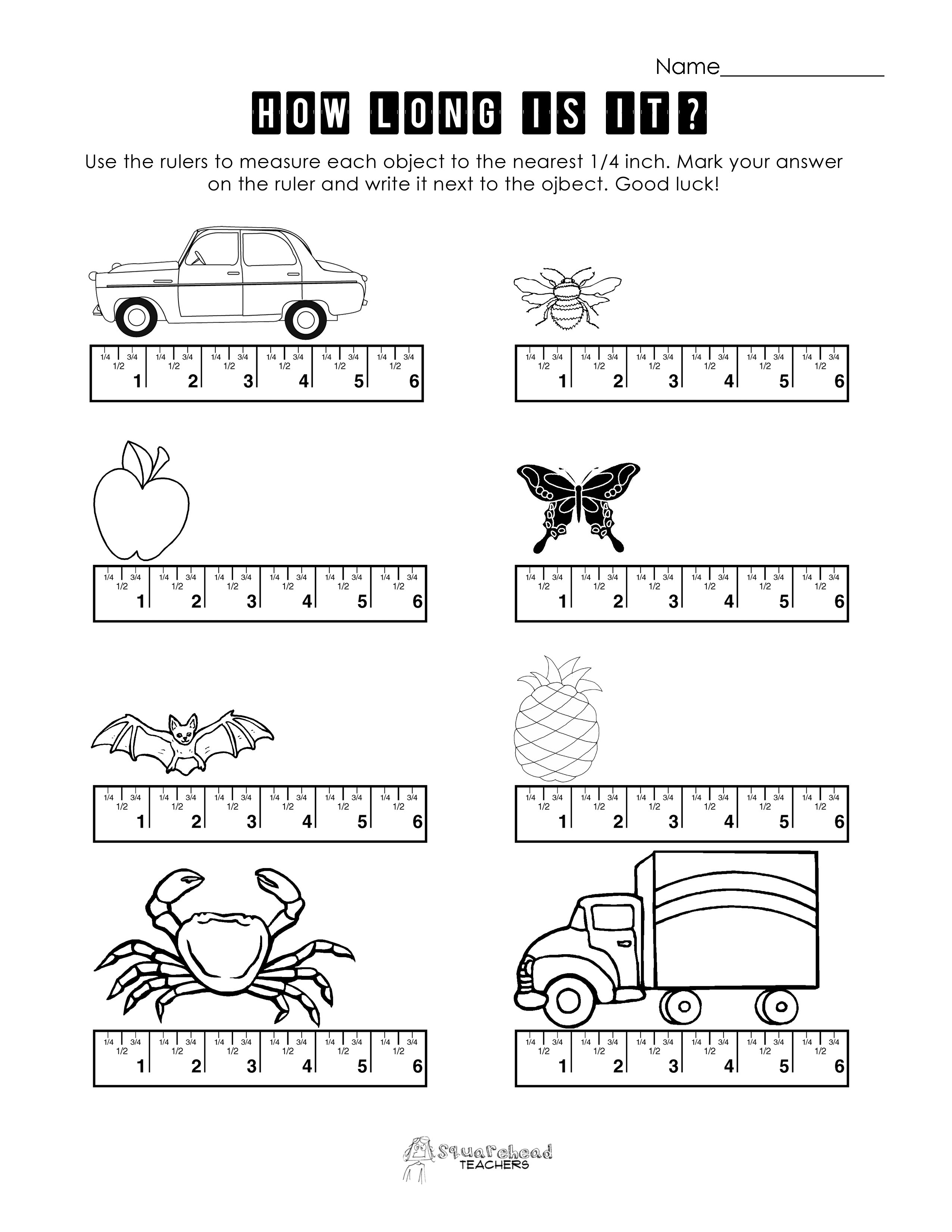 Measurement Practice 1  Squarehead Teachers For Measuring To The Nearest 1 4 Inch Worksheet