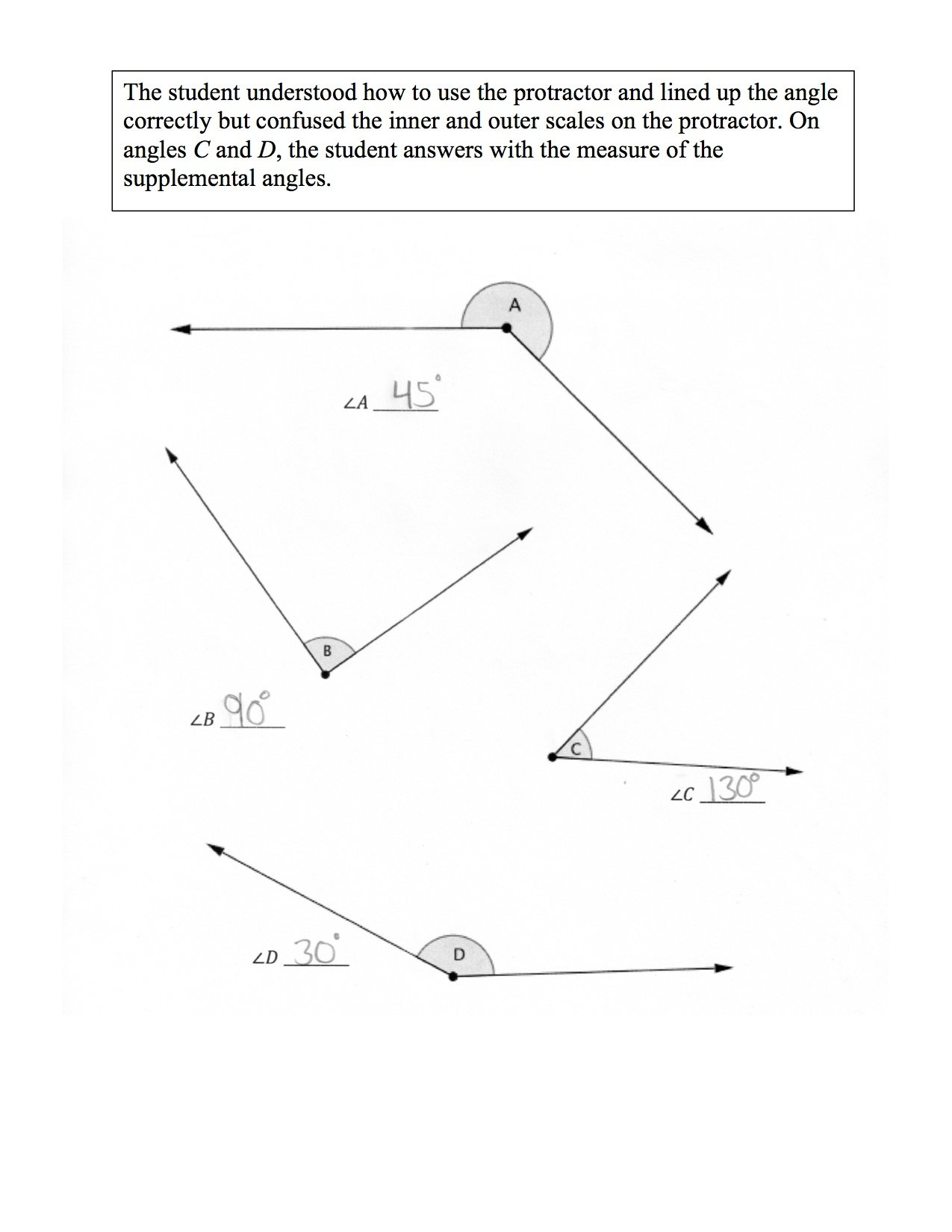Measuring Angles With A Protractor Students Are Asked To Use A Inside Measuring Angles With A Protractor Worksheet