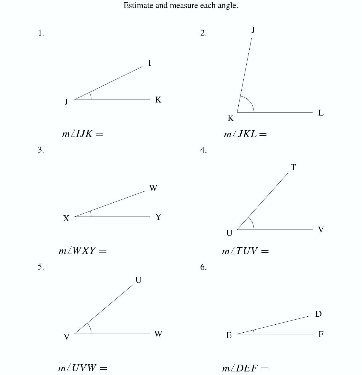 Measuring Angles With A Protractor Worksheet Inside Measuring Angles With A Protractor Worksheet