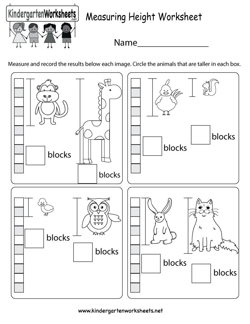 Measuring Height Worksheet  Free Kindergarten Math Worksheet For Kids Along With Kindergarten Measurement Worksheets