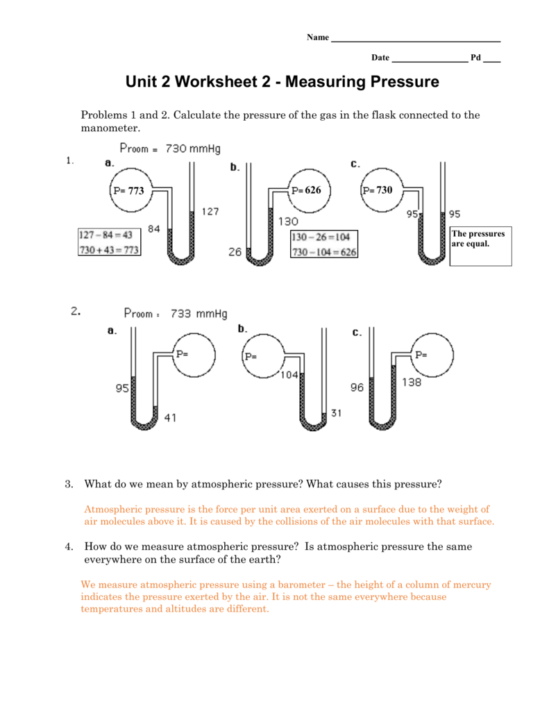 Measuring Pressure Pertaining To Unit 2 Worksheet 2 Measuring Pressure