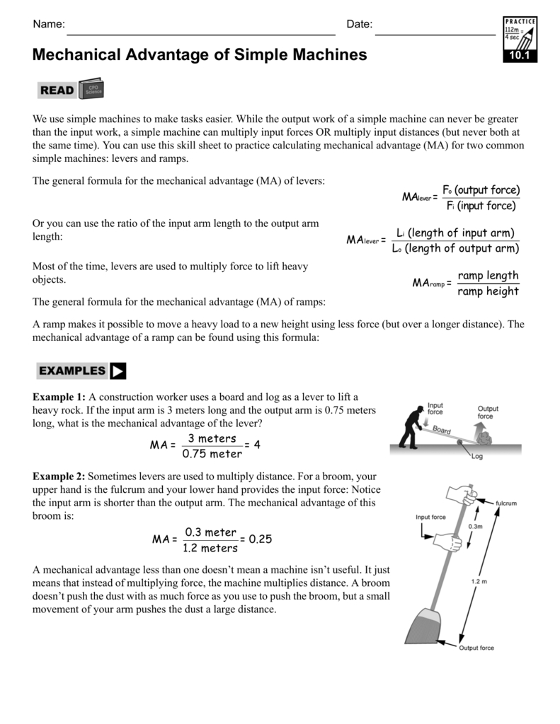 Mechanical Advantage Of Simple Machines With Regard To Simple Machines And Mechanical Advantage Worksheet Answer Key
