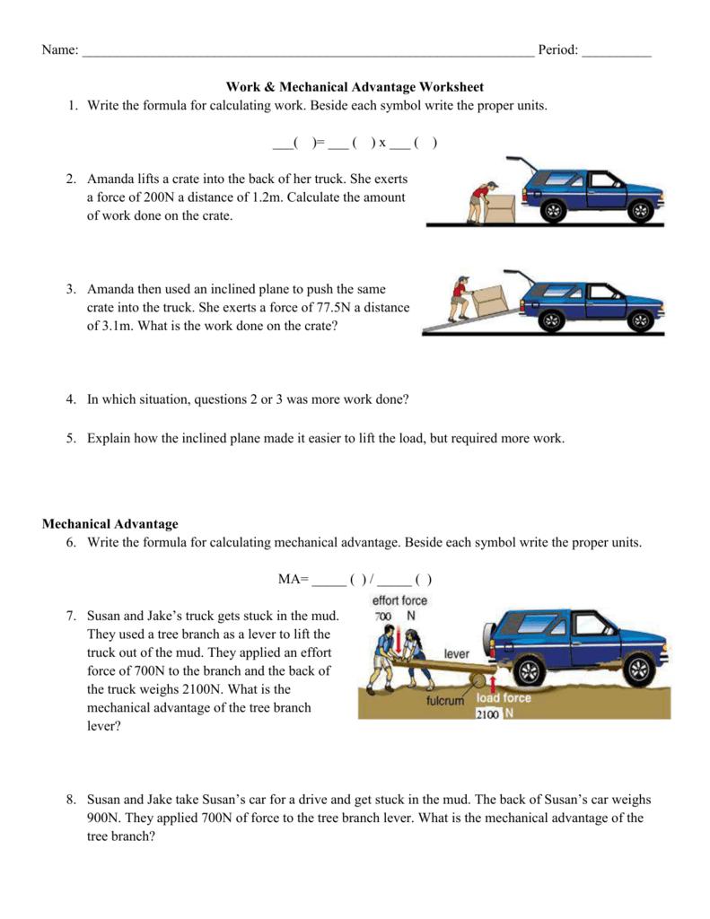 Mechanical Advantage Worksheet Along With Simple Machines And Mechanical Advantage Worksheet Answer Key