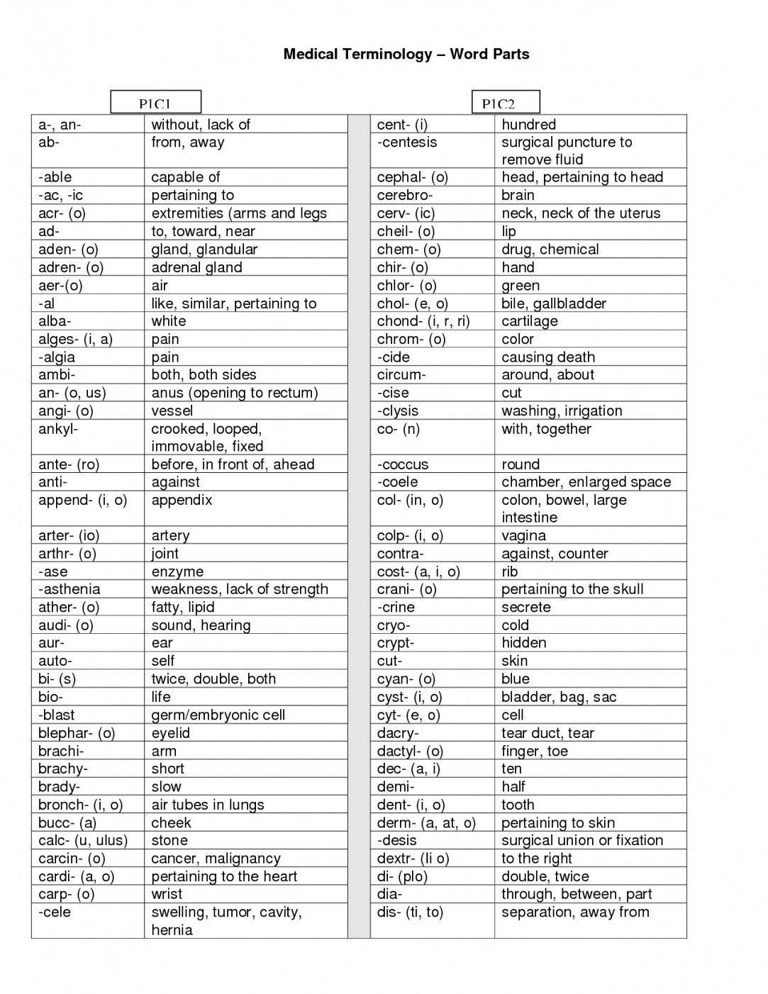Medical Terminology Prefixes Worksheet  Yooob As Well As Medical Terminology Prefixes Worksheet