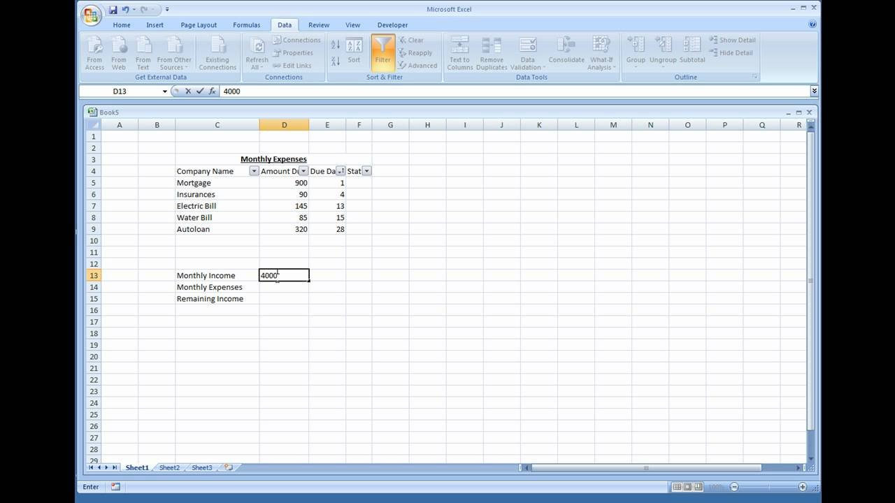 Microsoft Excel   Creating A Simple Expense Sheet   Youtube With How To Create A Simple Excel Spreadsheet