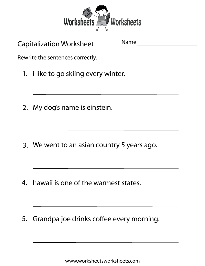 Middle School Capitalization Worksheet  Free Printable Educational Within Middle School Health Worksheets Pdf