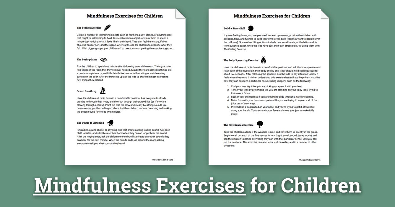 Mindfulness Activities For Children Worksheet  Therapist Aid Intended For Meditation Worksheet Pdf