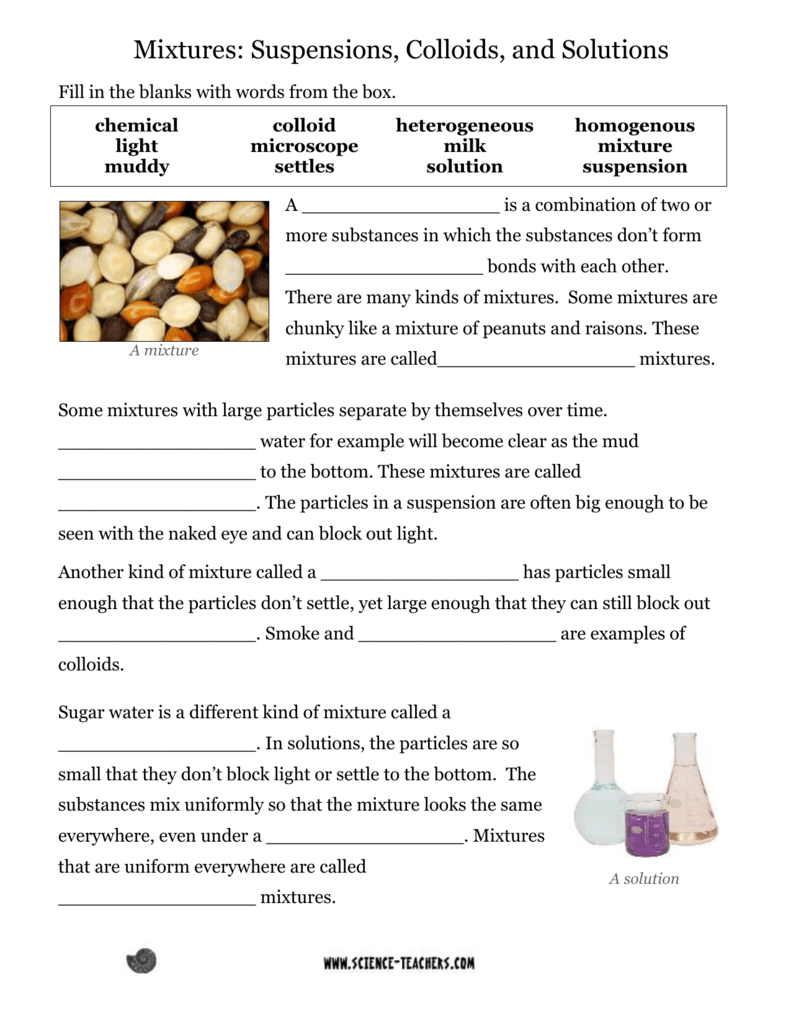 Mixtures  Science Teacher Resources Intended For Solutions Colloids And Suspensions Worksheet