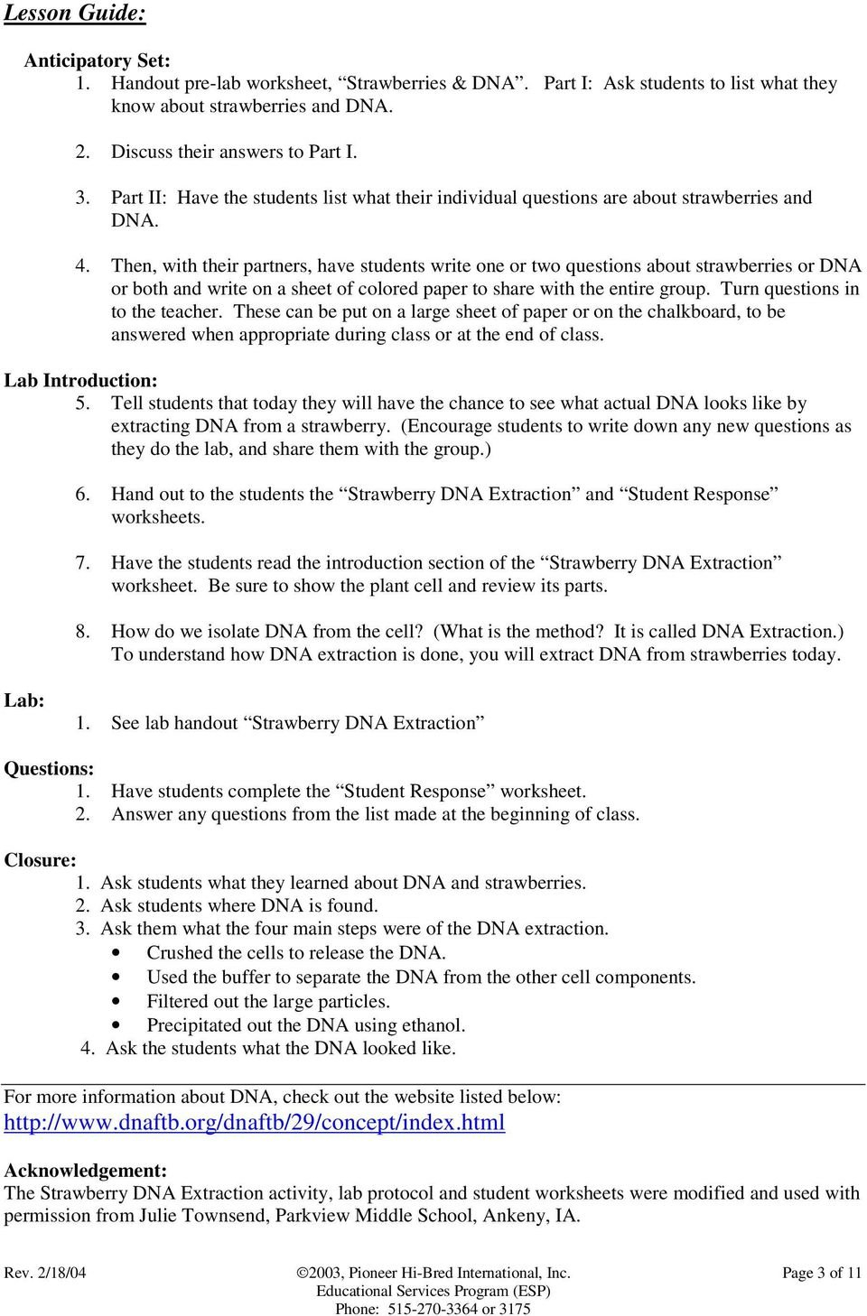 Strawberry Dna Extraction Lab Worksheet Answers ...