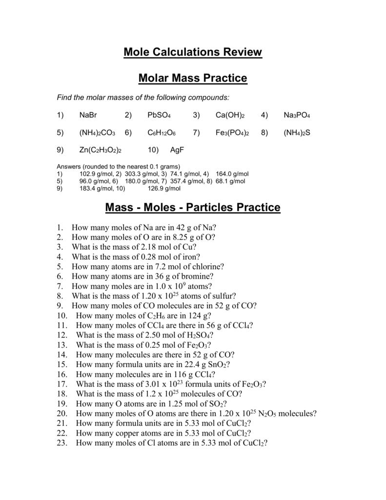 Molar Mass Practice Worksheet For Molar Mass Practice Worksheet Answer Key