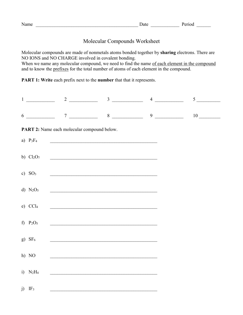 Molecular Compounds Ws With Regard To Molecular Compounds Worksheet Answers