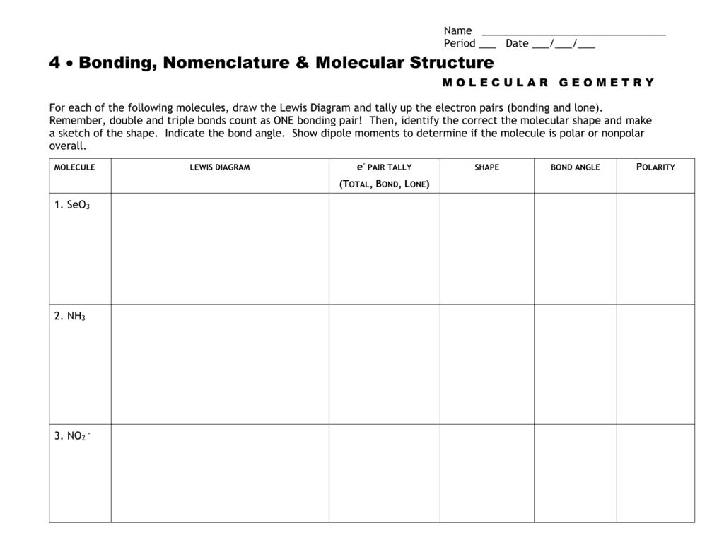 Molecular Geometry Worksheet Or Lewis Structure And Molecular Geometry Worksheet