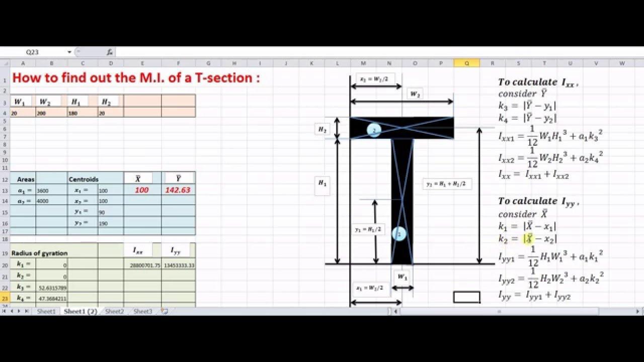 Moment Of Inertia Of Composite Shapes   Engineering Mechanics An ... Or Culvert Calculator Spreadsheet