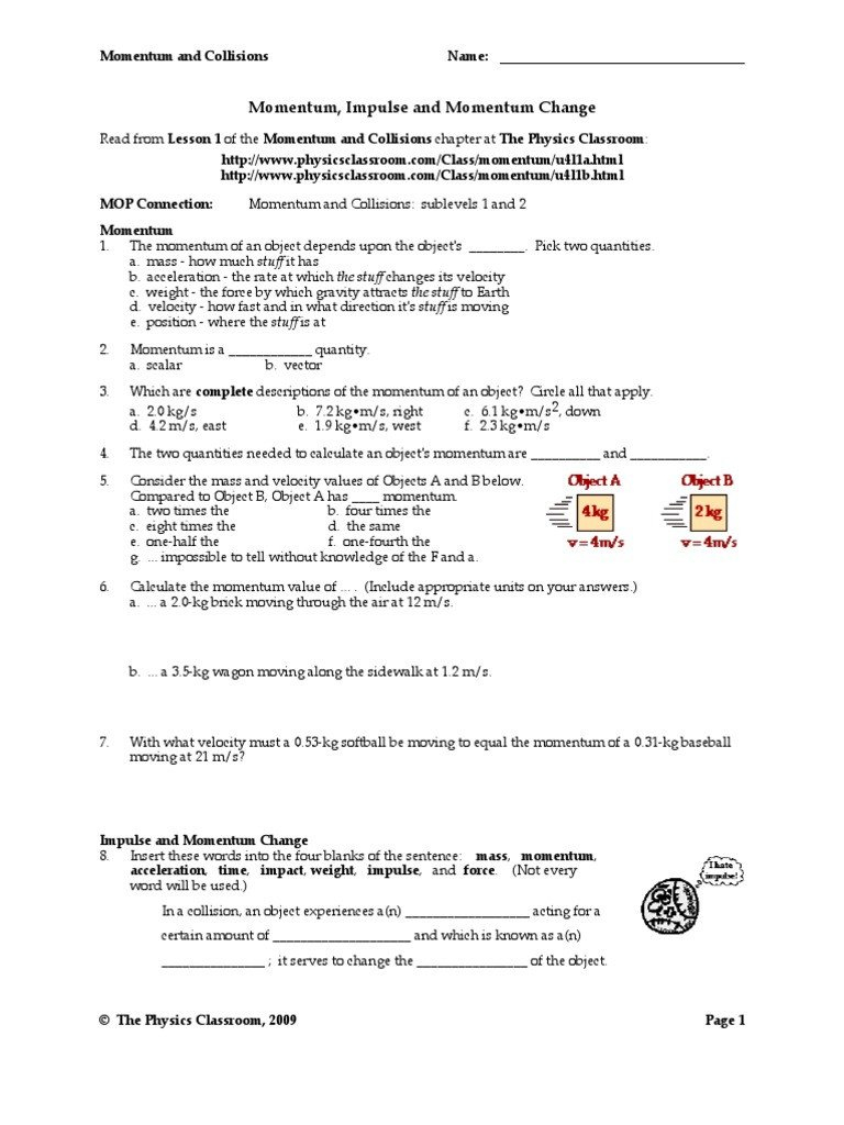 Momentum And Collisions Worksheet Answer Key Christmas Worksheets For Momentum And Collisions Worksheet Answer Key