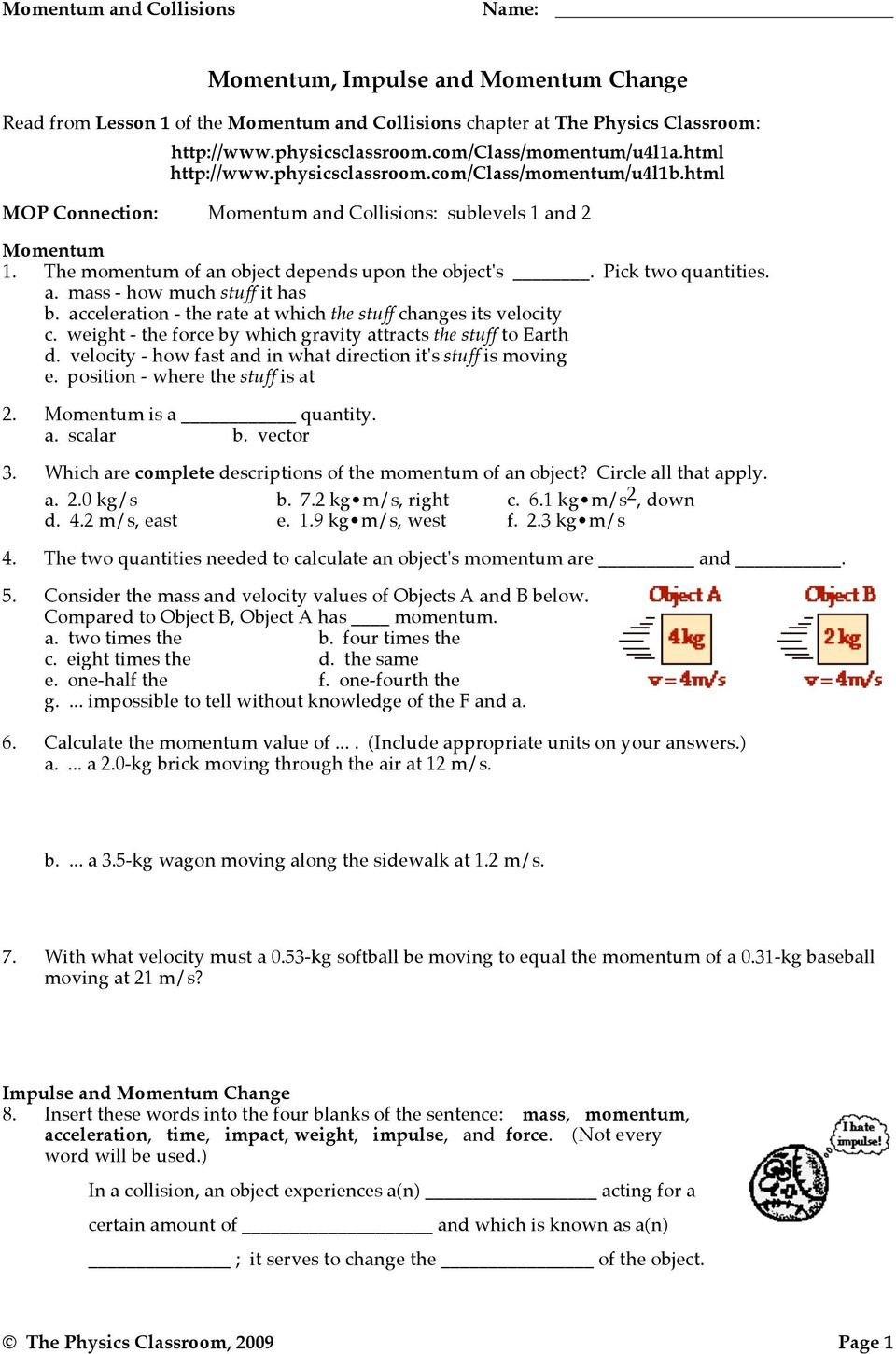 Momentum Impulse And Momentum Change Worksheet Answers Physics Intended For Momentum Worksheet Answers