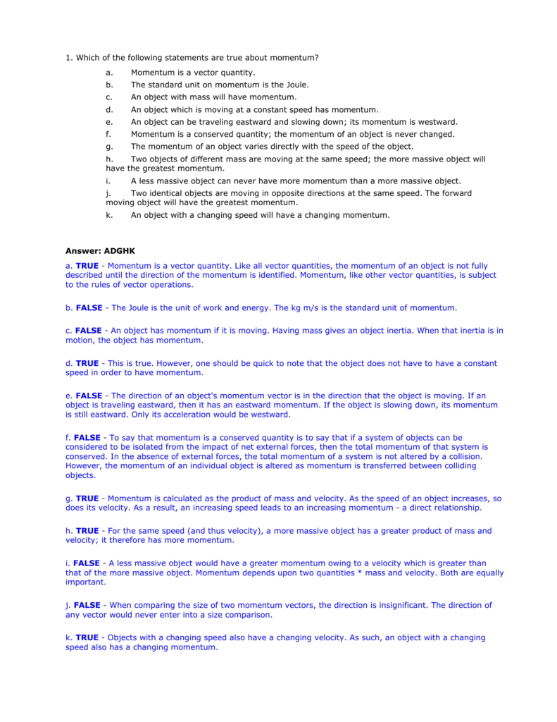 Momentum Review Answers For Momentum Worksheet Answers