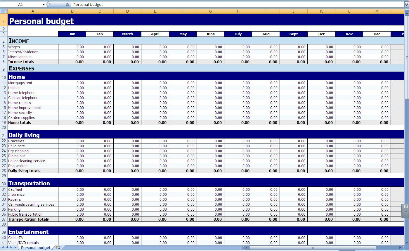 Monthly And Yearly Budget Spreadsheet Excel Template With Monthly Expenses Spreadsheet Template Excel