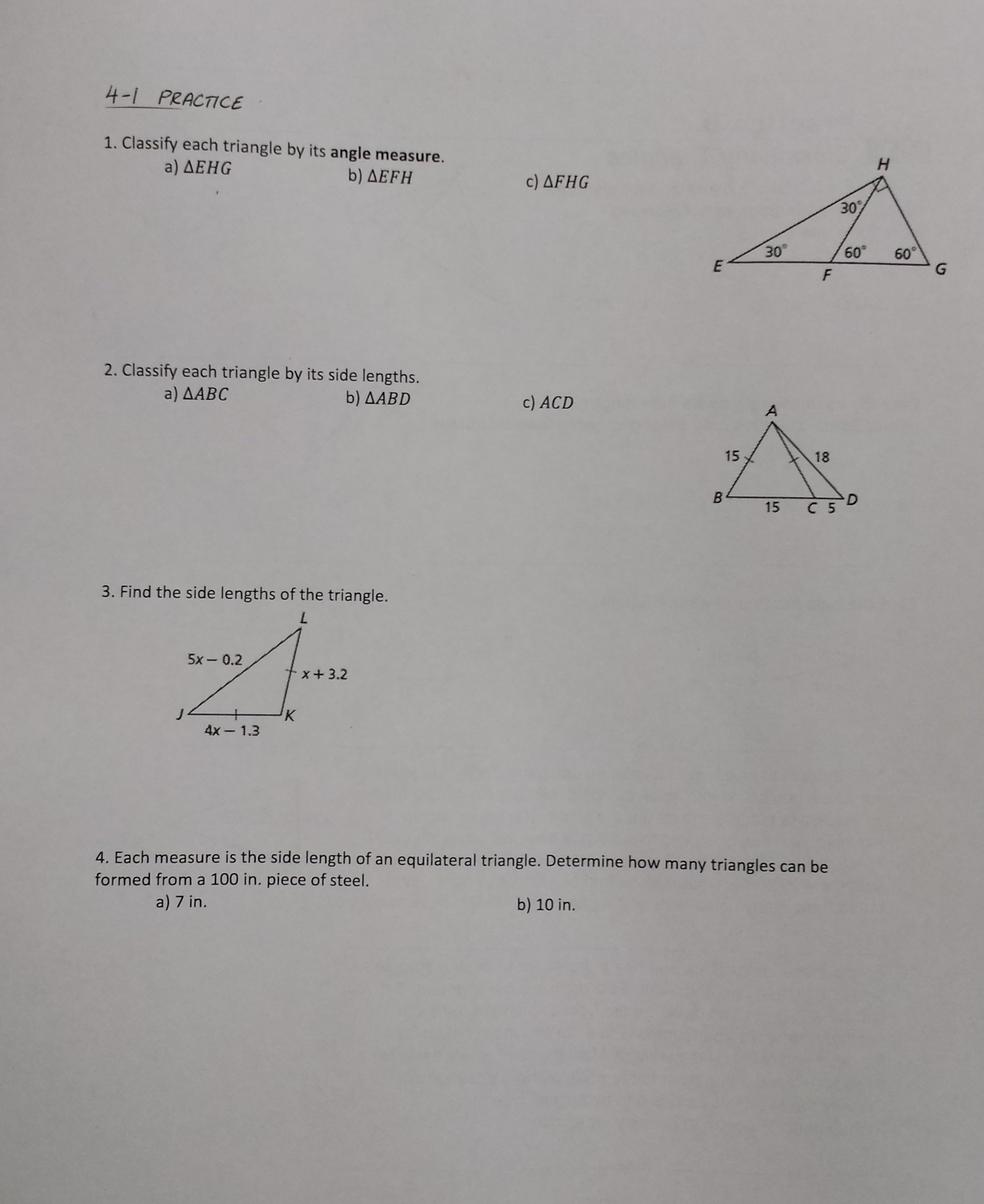 Mrs Garnet  Mrs Garnet At Pvphs Also 4 2 Practice Angles Of Triangles Worksheet Answers