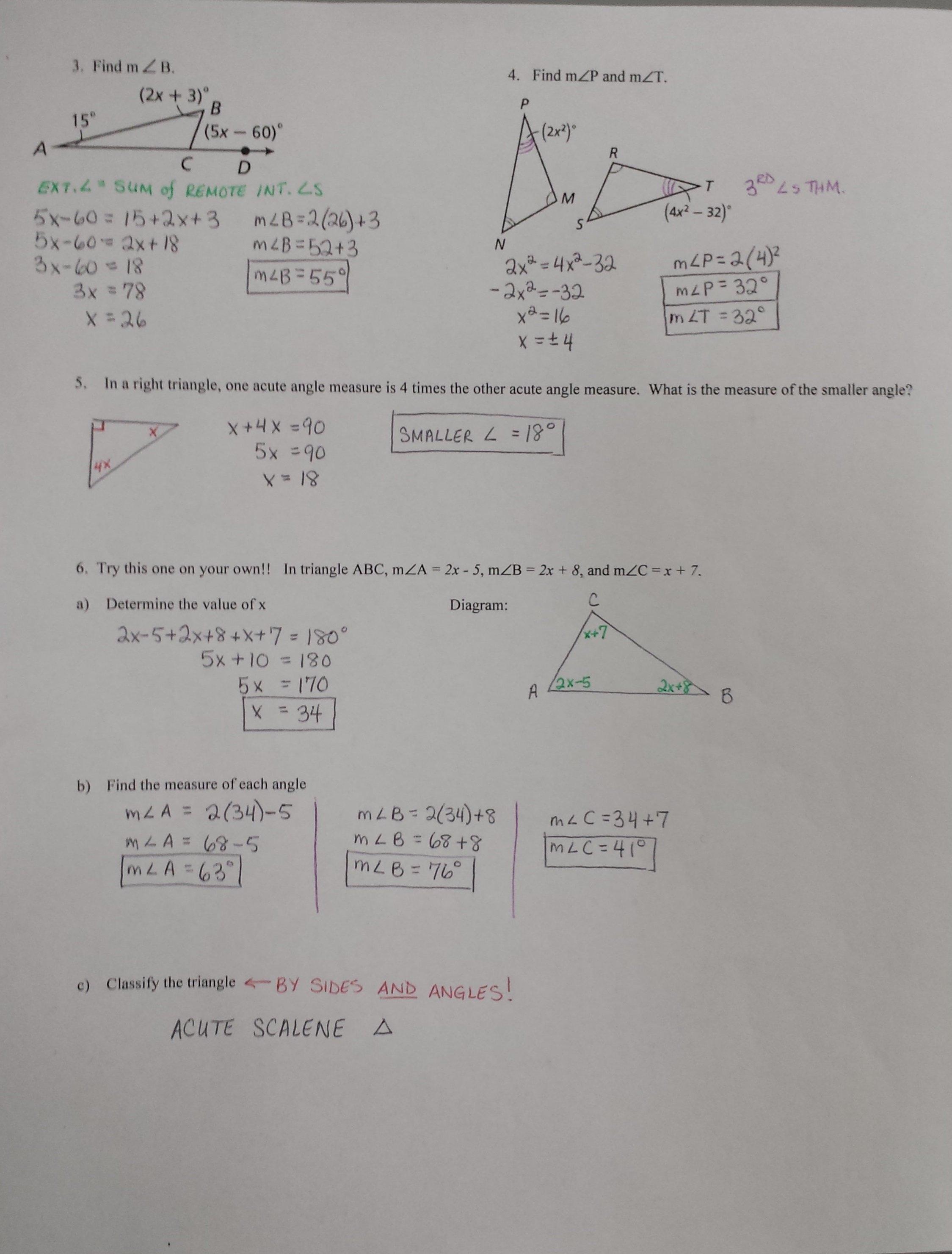 Mrs Garnet  Mrs Garnet At Pvphs Inside 2 8B Angles Of Triangles Worksheet Answers