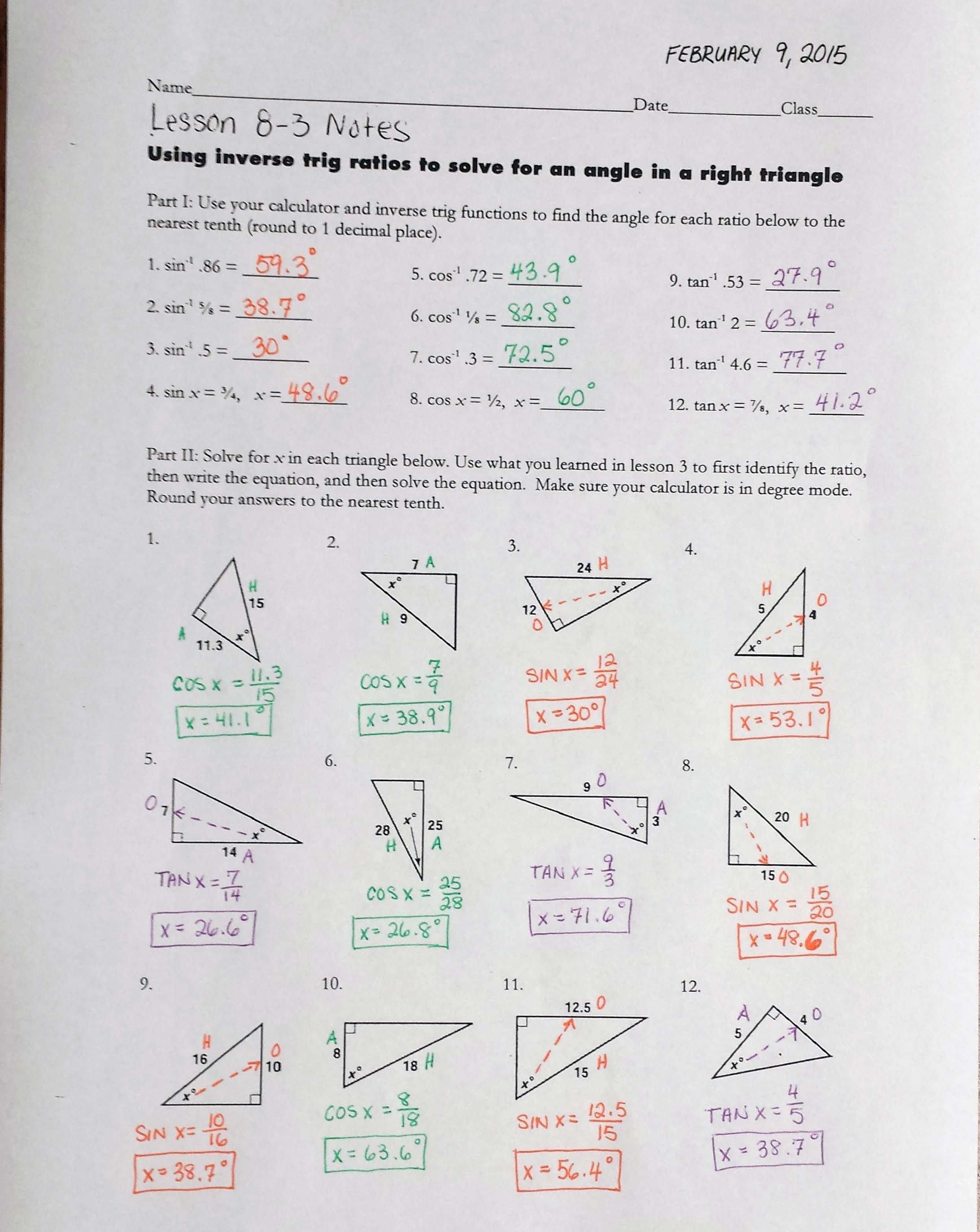 Mrs Garnet  Mrs Garnet At Pvphs Inside Inverse Trigonometric Ratios Worksheet Answers