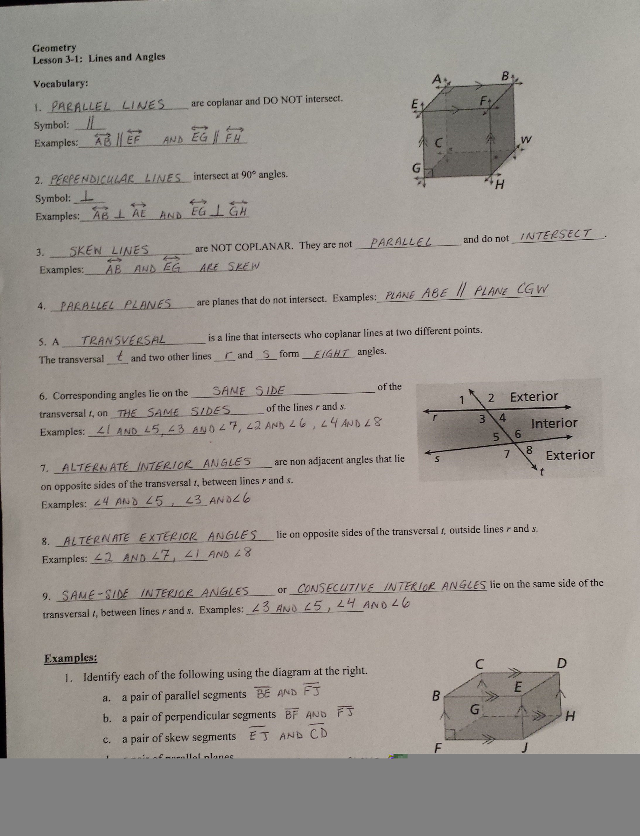 Mrs Garnet  Mrs Garnet At Pvphs With Regard To 3 1 Lines And Angles Worksheet Answers