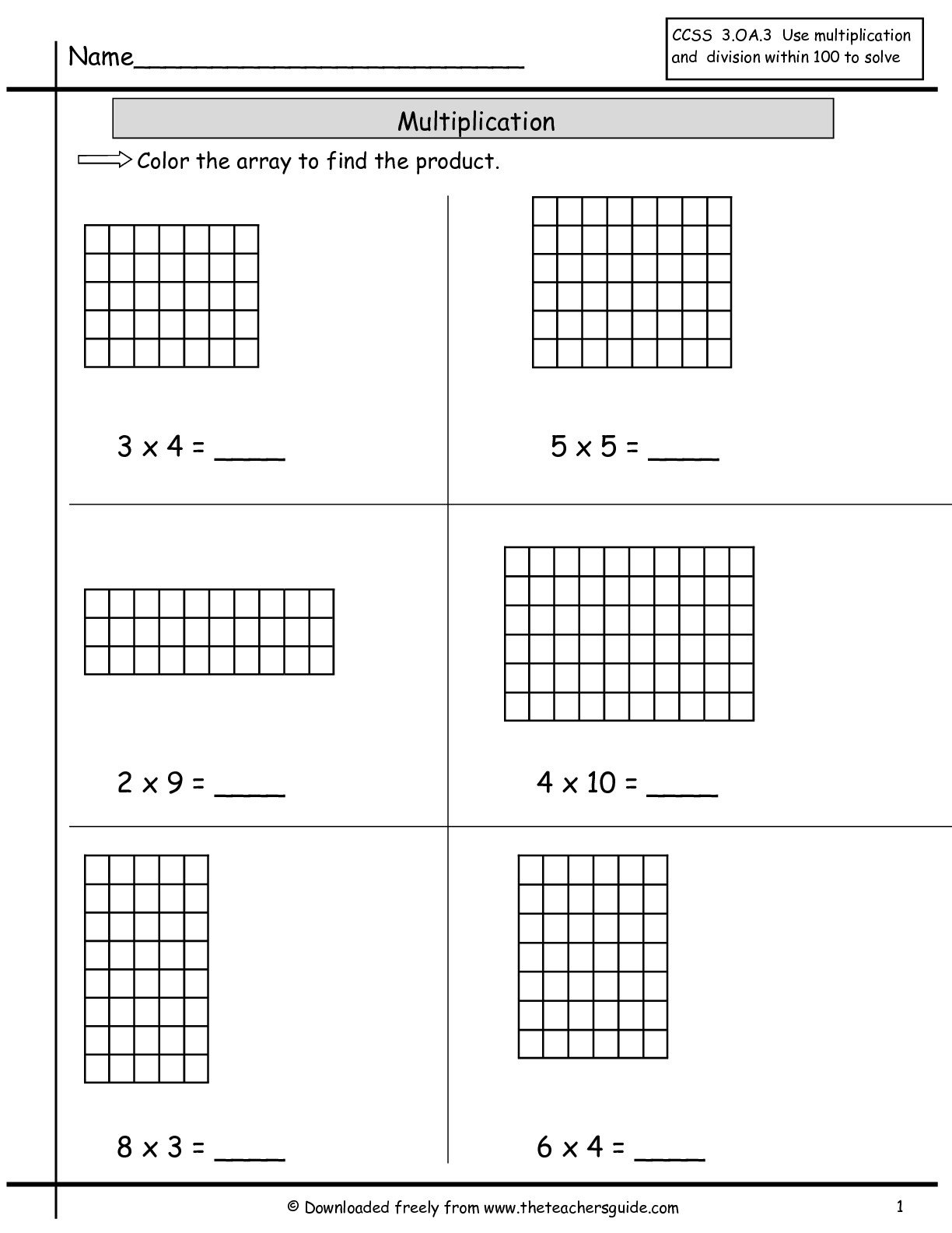Multiplication Array Worksheets From The Teacher's Guide As Well As Arrays And Multiplying By 10 And 100 Worksheet