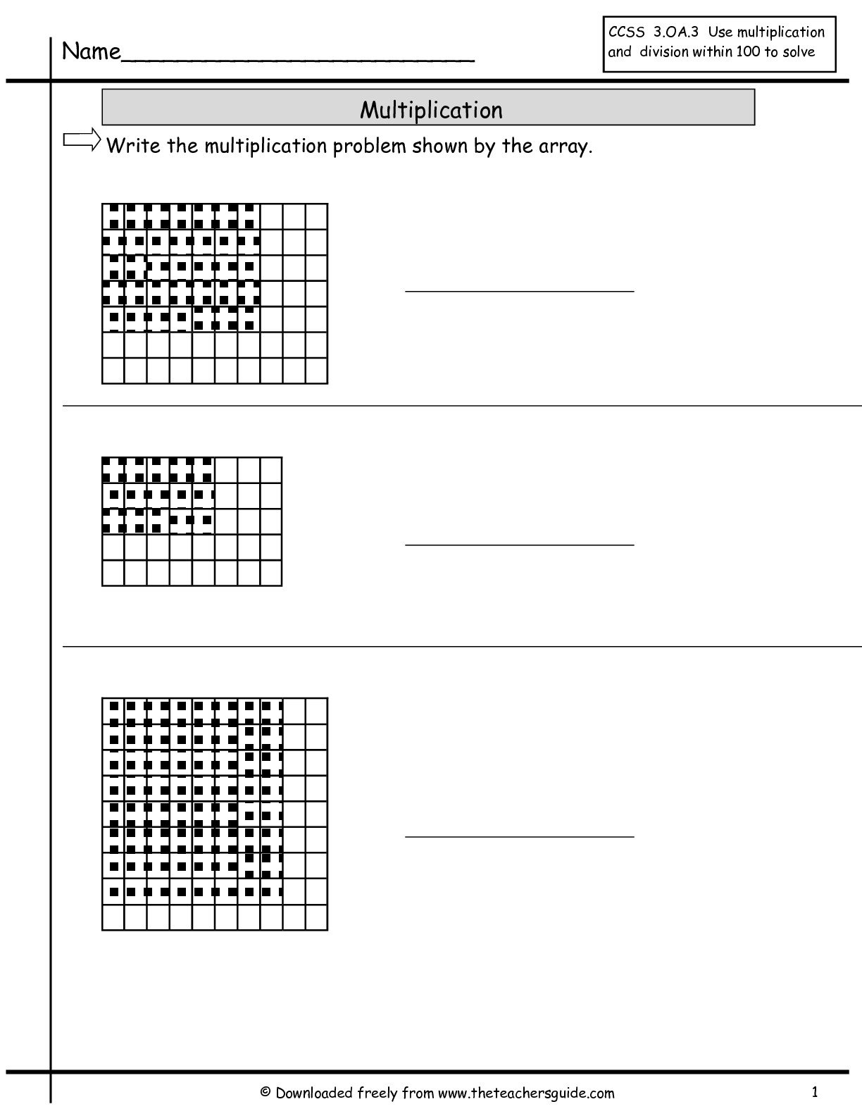 Multiplication Array Worksheets From The Teacher's Guide With Regard To Arrays And Multiplying By 10 And 100 Worksheet
