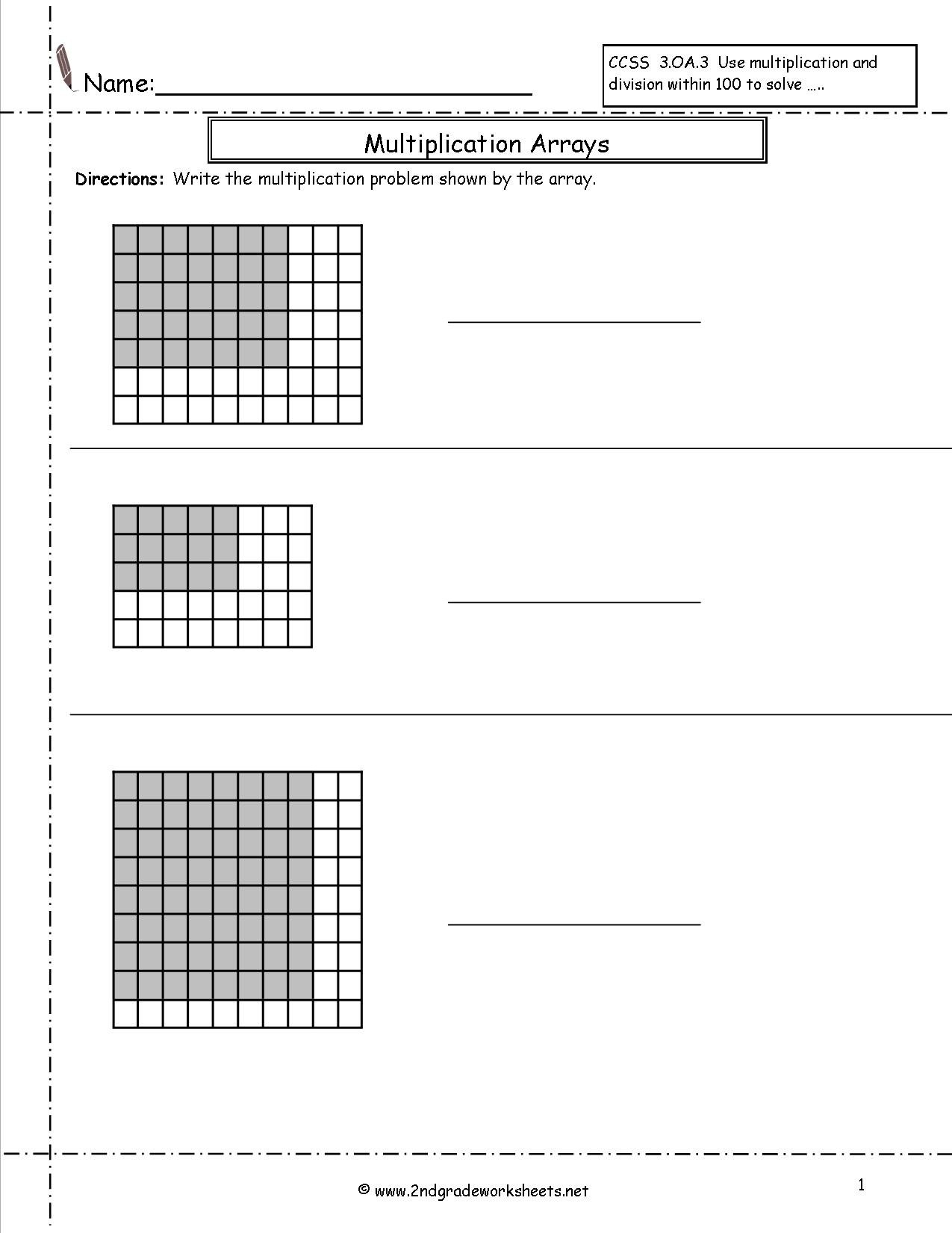 Multiplication Arrays Worksheets And Arrays And Multiplying By 10 And 100 Worksheet