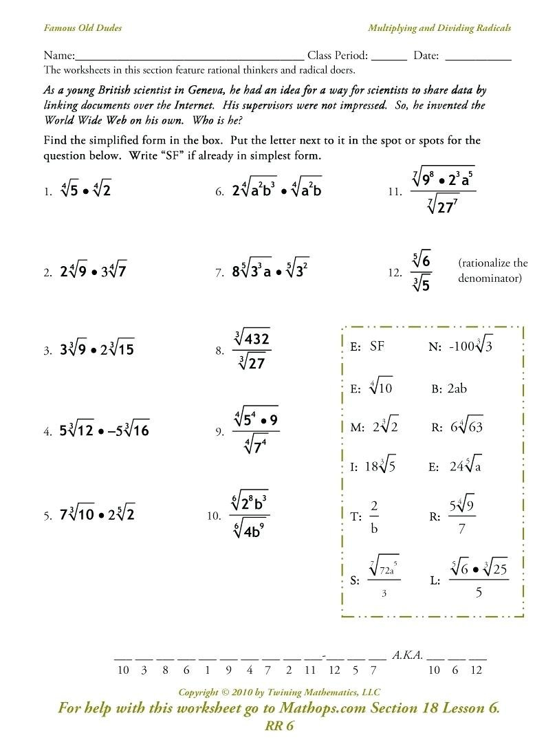 Multiply And Divide Rational Expressions Math Rational Expressions And Simplifying Radical Expressions Worksheet Answers