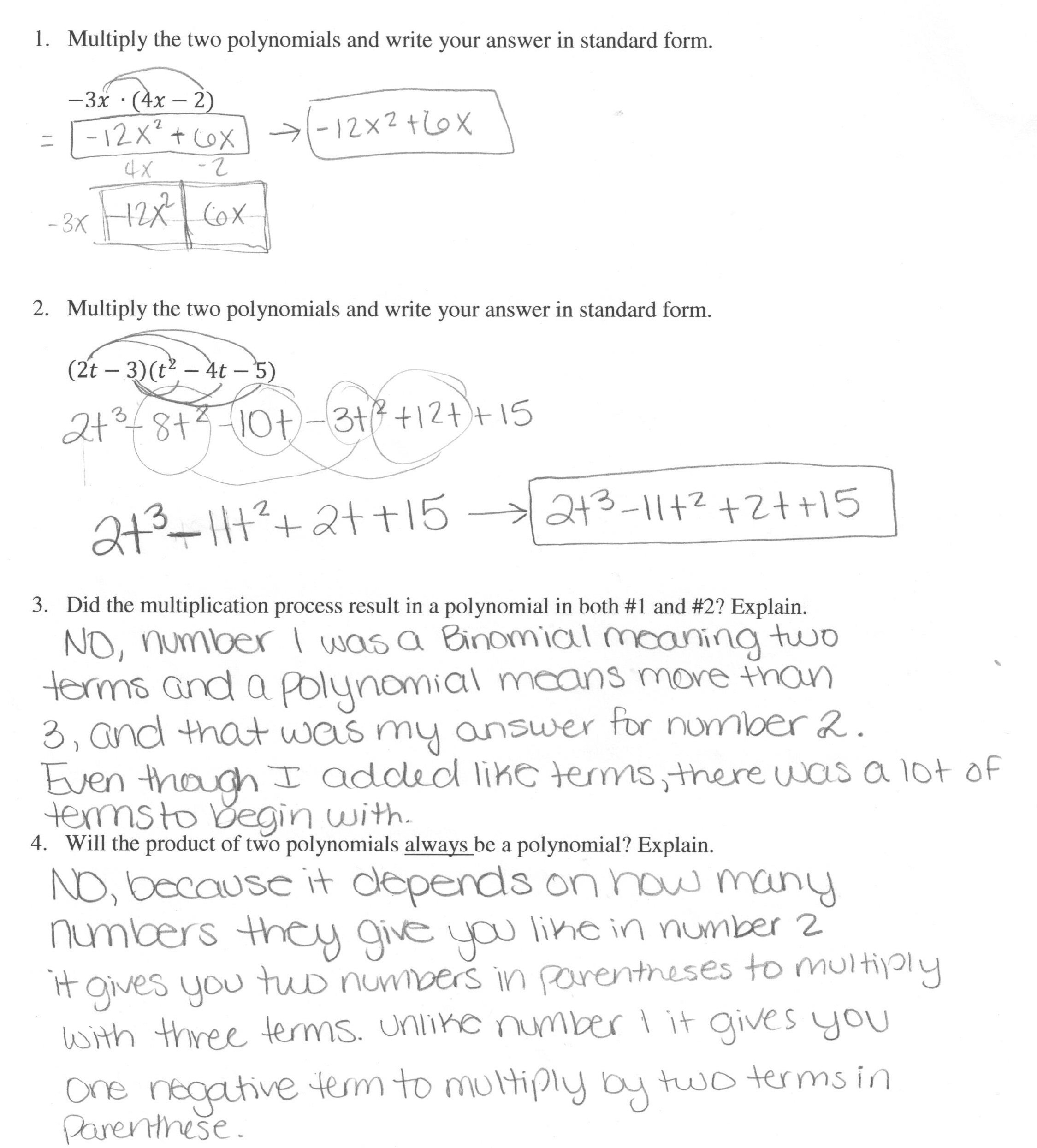 Multiplying Polynomials  1 Students Are Asked To Multiply In Multiplying Polynomials Worksheet Algebra 2
