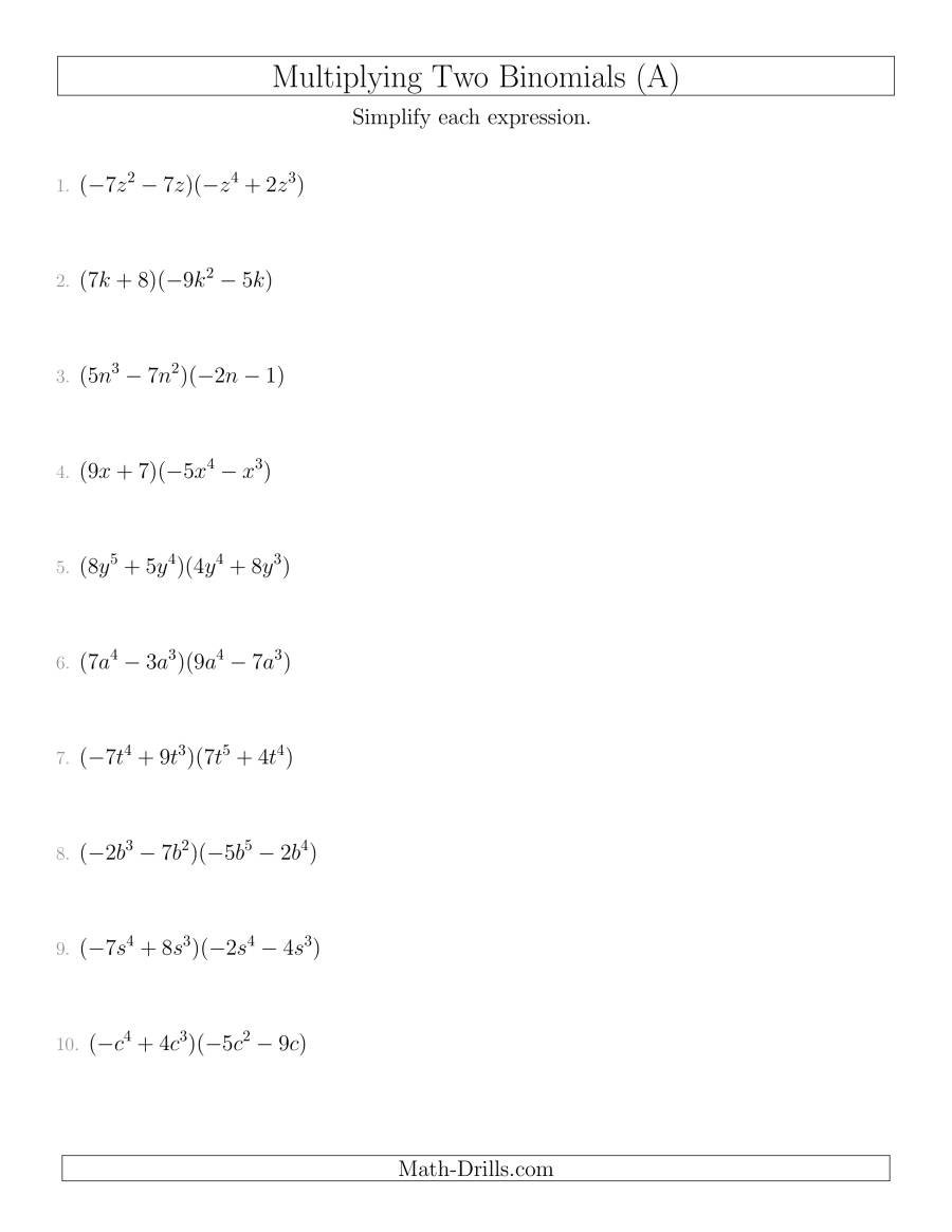 Multiplying Two Binomials A For Multiplying Polynomials Worksheet Algebra 2