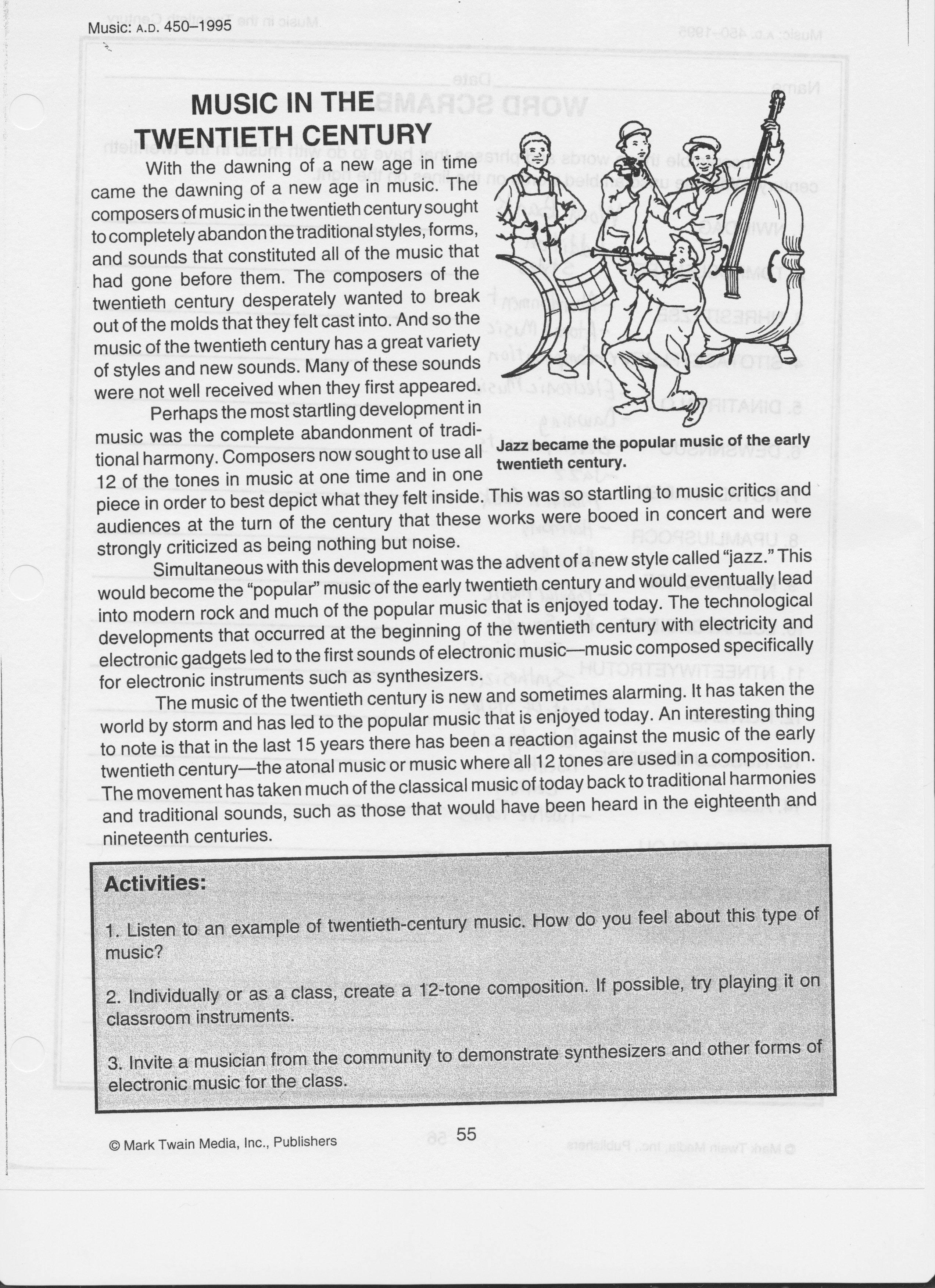 Music Worksheets Intended For Music History Worksheets