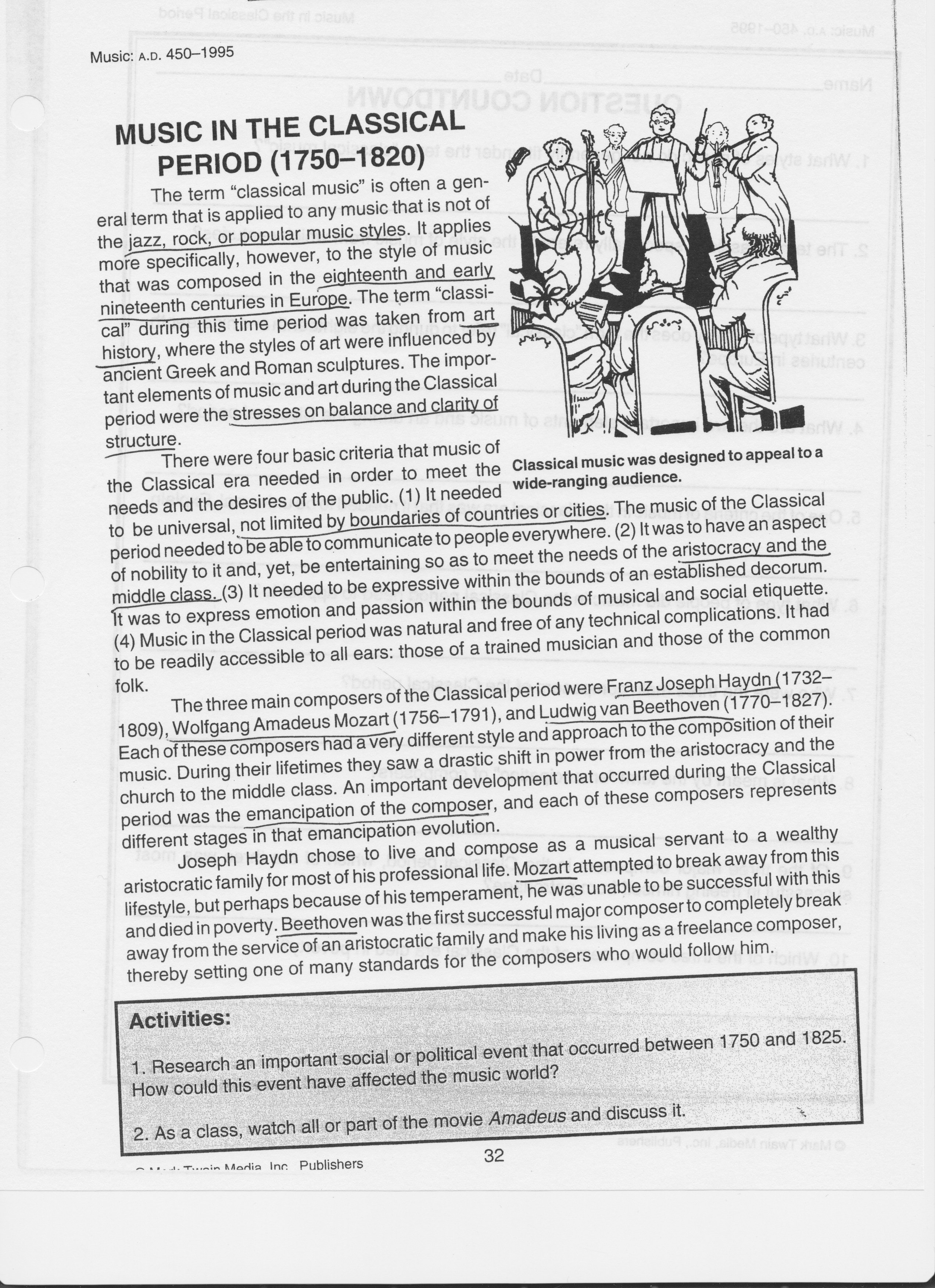 Music Worksheets With Science Reading Comprehension Worksheets Middle School Pdf