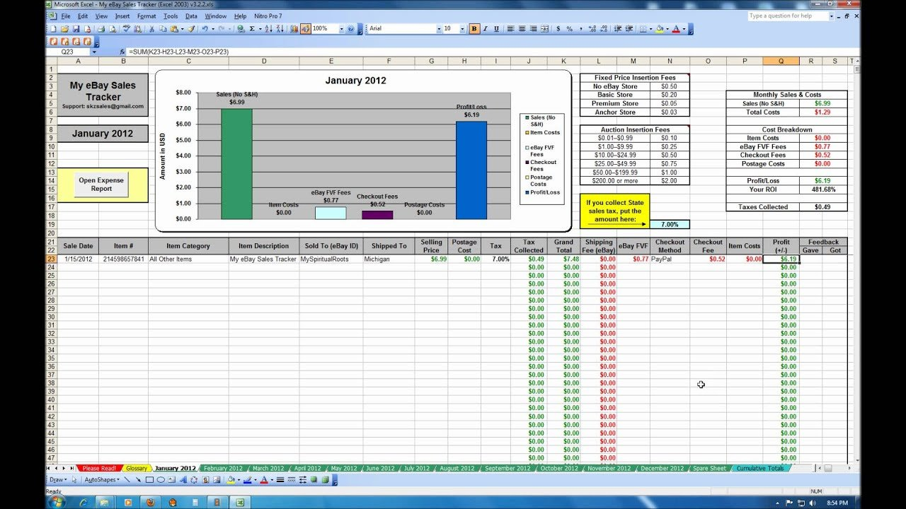My Ebay Sales Tracker Spreadsheet   Youtube Together With Ebay And Amazon Sales Tracking Spreadsheet