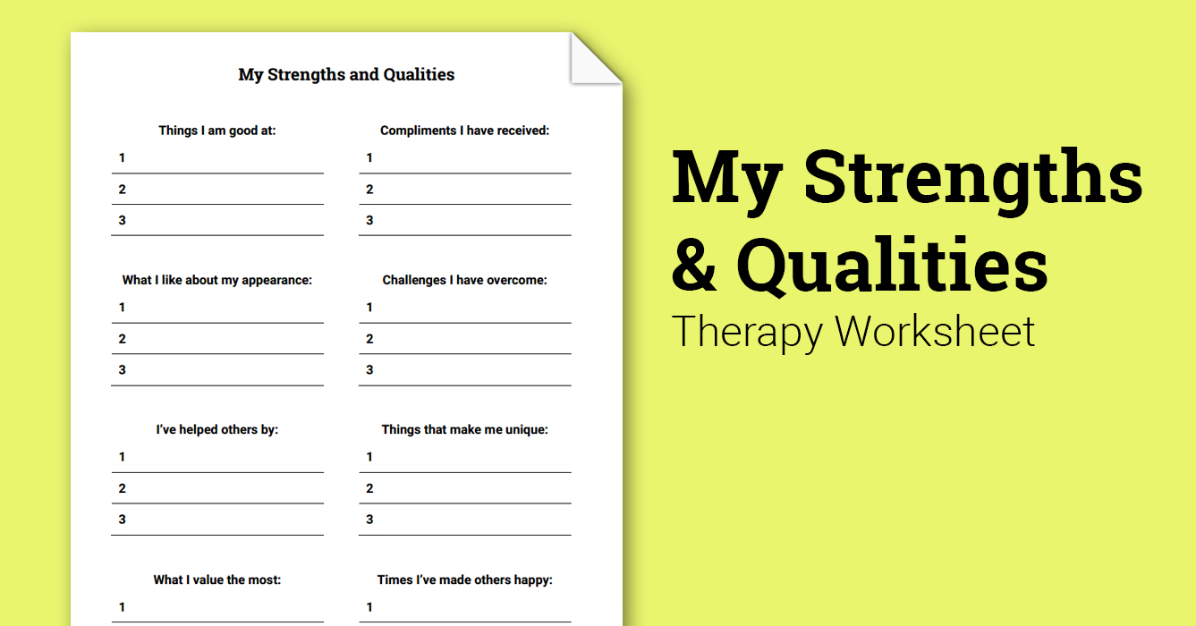 My Strengths And Qualities Worksheet  Therapist Aid Also Therapy Aide Worksheets