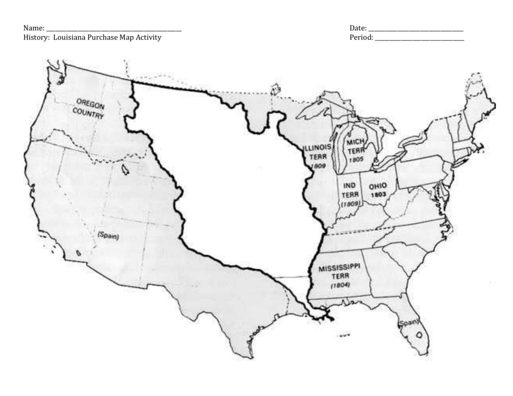 Name Date History Louisiana Purchase Map Activity Period Lewis Throughout Louisiana Purchase Map Activity Worksheet