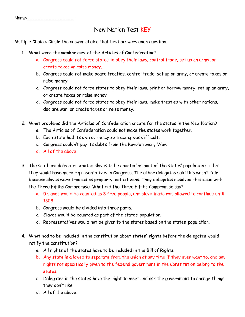 Name New Nation Test Key Multiple Choice Circle The Answer And Chapter 6 Launching The New Nation Worksheet Answers