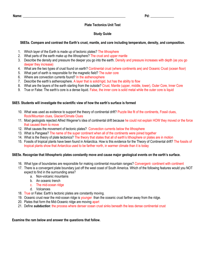 Name Pd Plate Tectonics Unit Test Study Guide S6E5A Compare Along With Volcanoes And Plate Tectonics Worksheet Answers