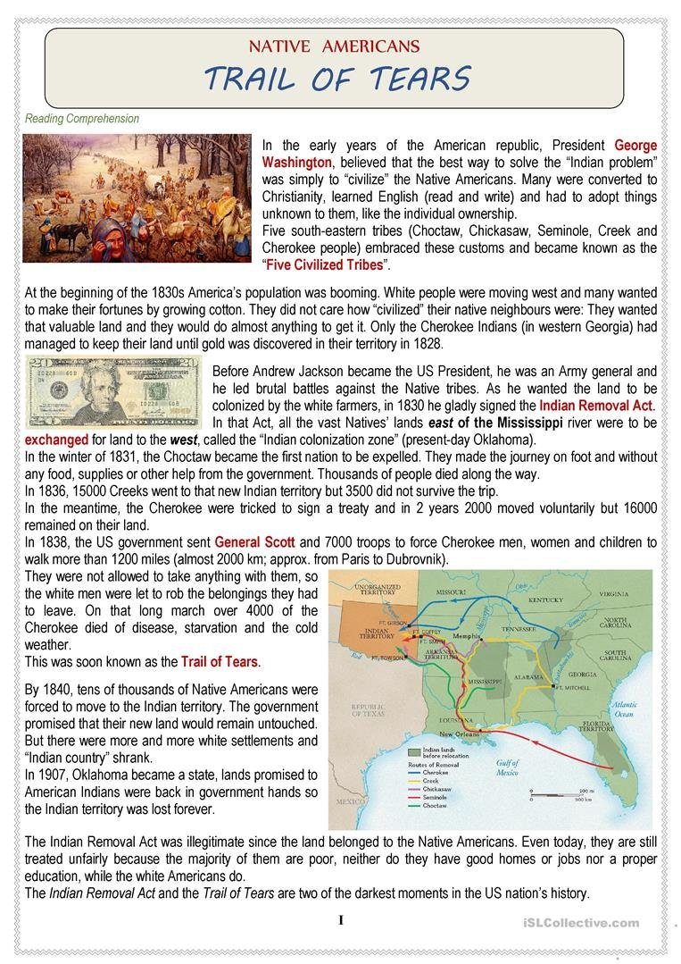 Native Americans Usa  Trail Of Tears  Quiz Worksheet  Free Esl Inside Trail Of Tears Worksheet