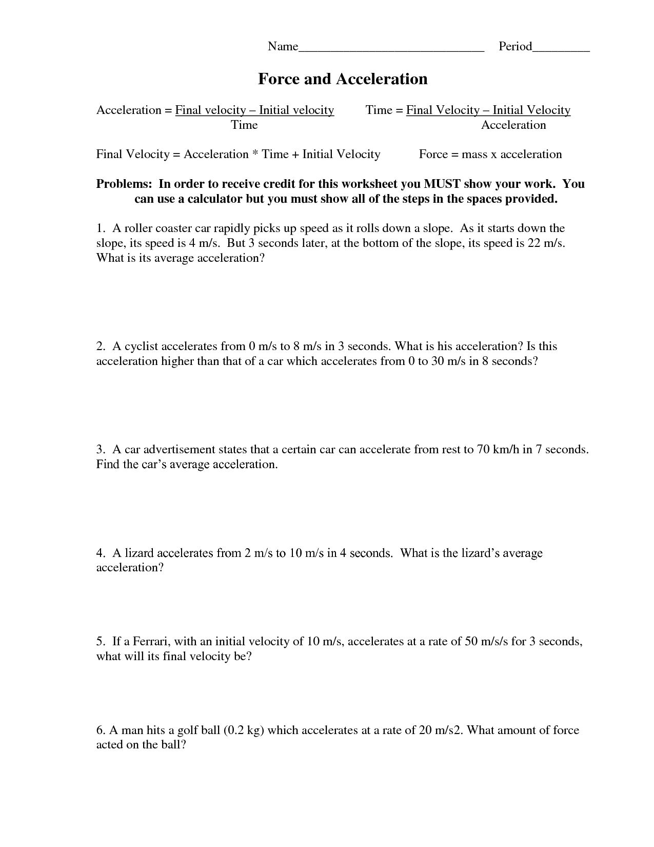 Net Force And Acceleration Worksheet Answers  Briefencounters Or Net Force And Acceleration Worksheet Answers