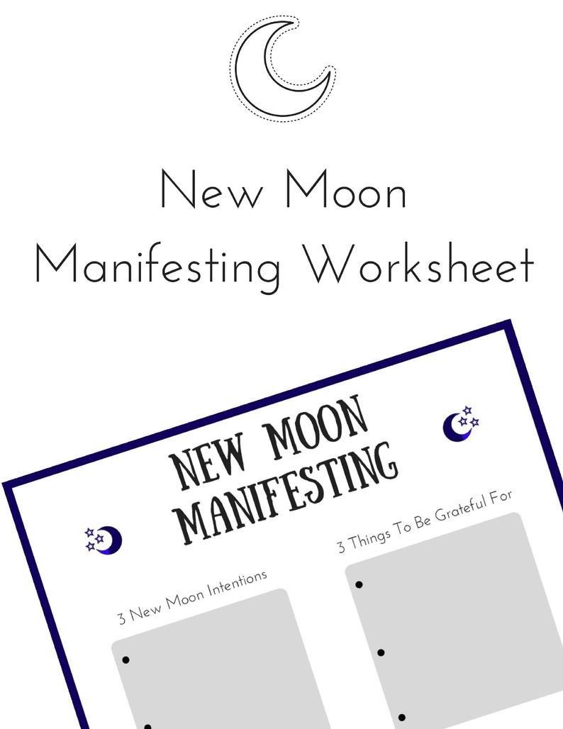 New Moon Manifesting Worksheet  Law Of Attraction Worksheet   Etsy Intended For Law Of Attraction Worksheets