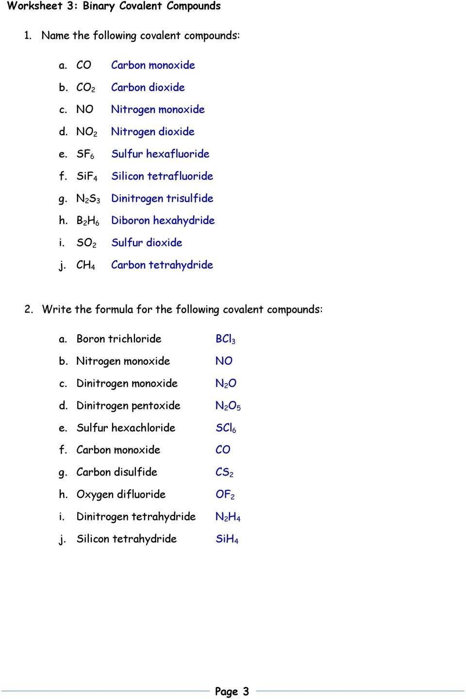 Nomenclature Packet 1 Name The Following Ionic Compounds A Al 2 Inside Naming Covalent Compounds Worksheet Answer Key