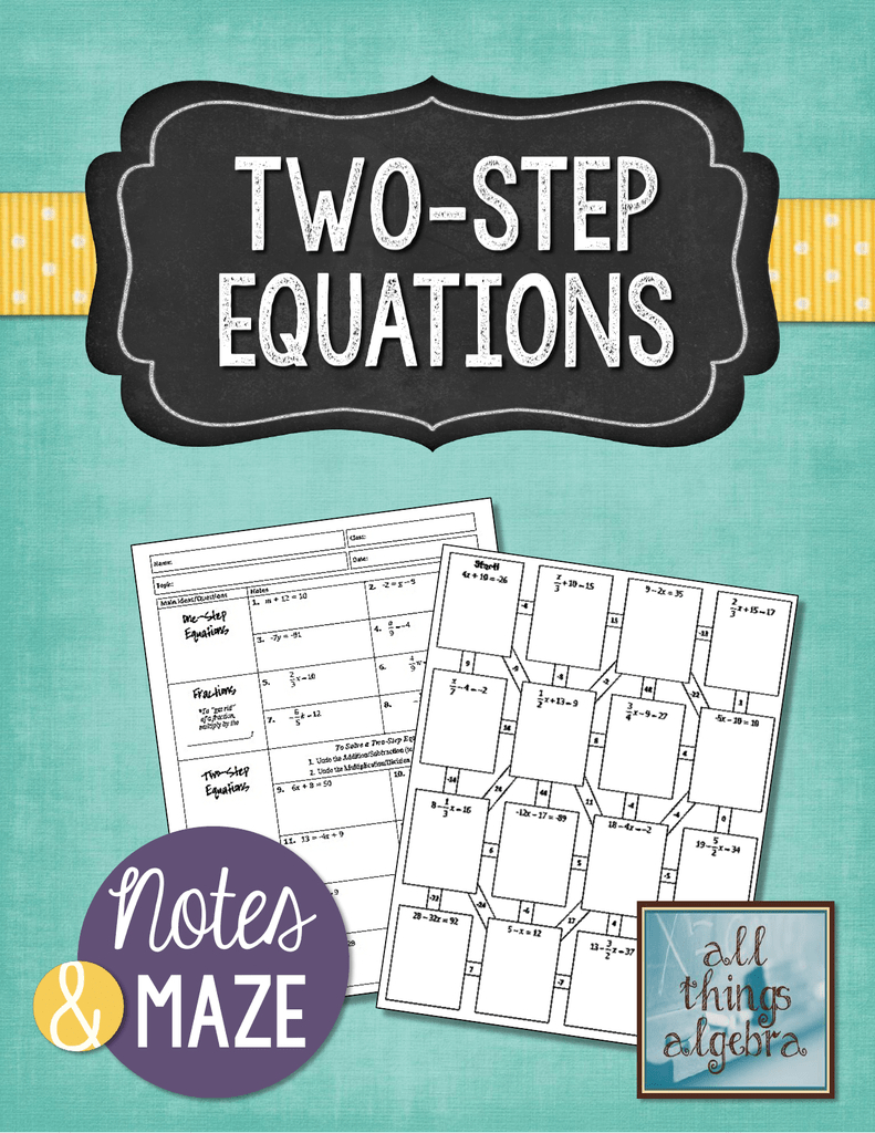 Notes Tw0Step Equations Maze Intended For Shamrockin Equations Worksheet Answers Key