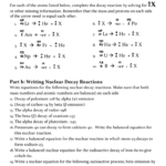 Nuclear Chemistry Worksheet Within Nuclear Chemistry Worksheet Answer Key