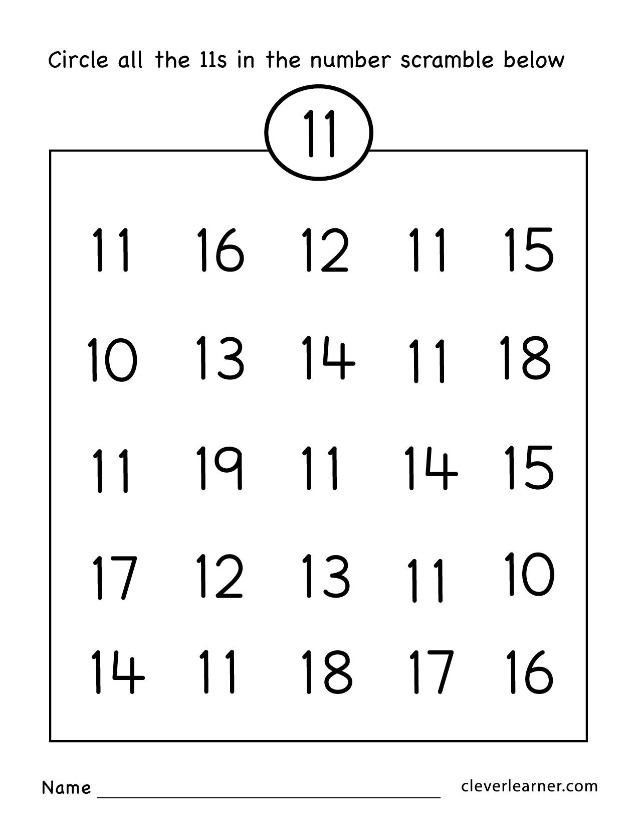 Number Eleven Writing Counting And Identification Printable Also Preschool Number Worksheets