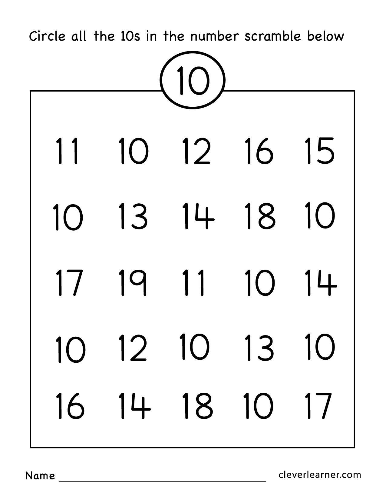 Number Ten Writing Counting And Identification Printable Worksheets Inside Preschool Number Worksheets