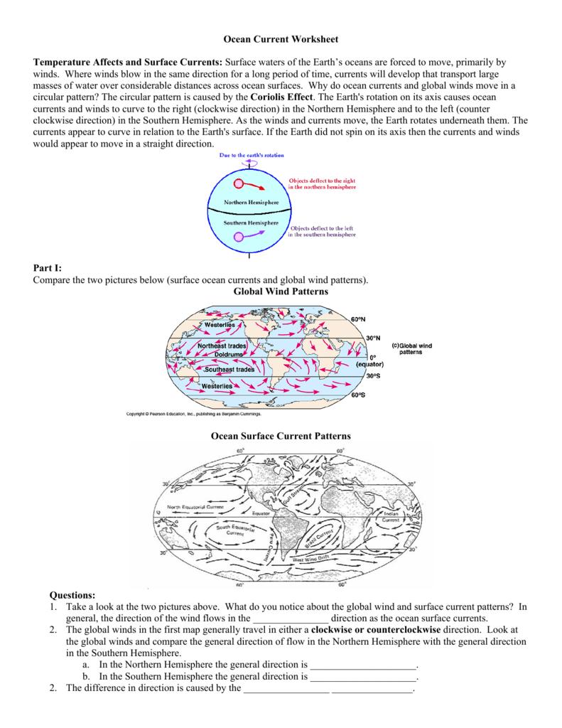 Ocean Current Worksheet Temperature Affects With Regard To Ocean Current Worksheet Answer Key