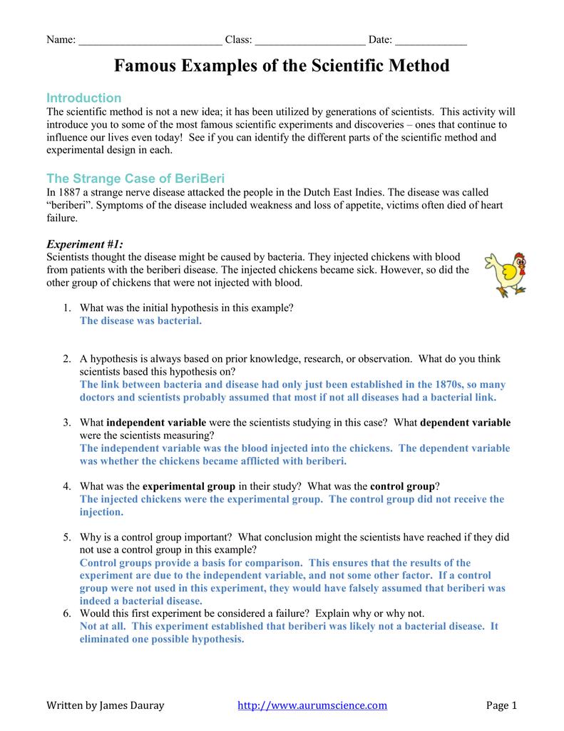 Ofthescientificmethod Worksheetanswer Regarding Scientific Method Worksheet Answers